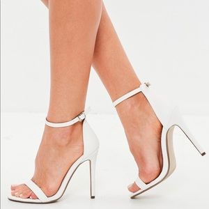 White crocodile texture sandals